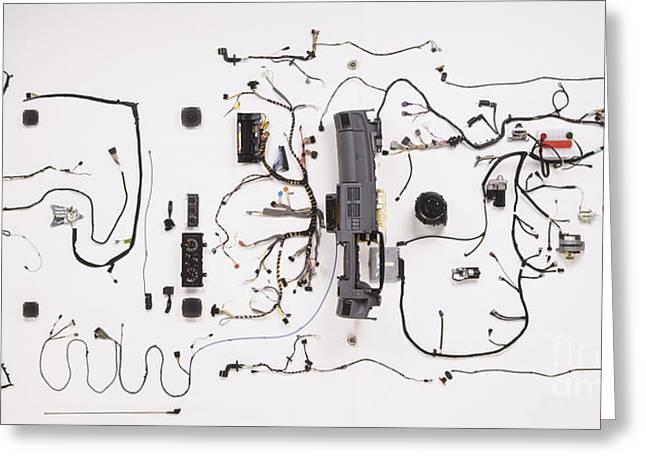 Wiring Of Modern Car Greeting Card by Dave Rudkin / Dorling Kindersley