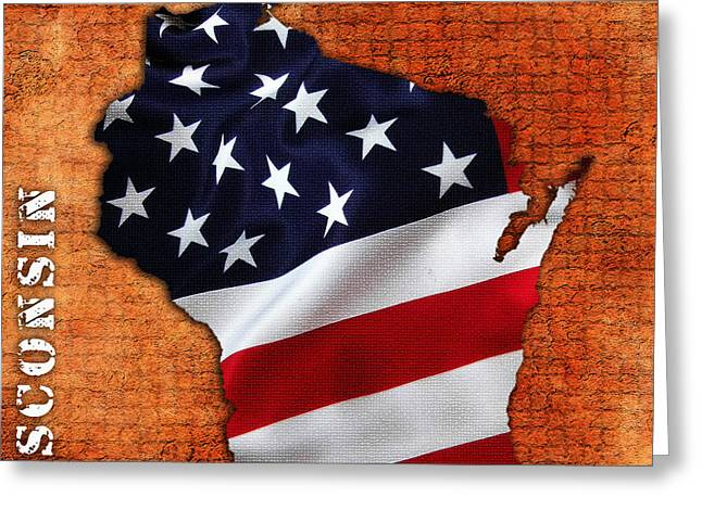 Wisconsin American Flag State Map Greeting Card by Marvin Blaine