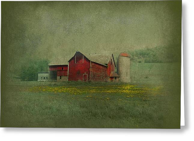 Wisconsin Barn In Spring Greeting Card by Jeff Burgess