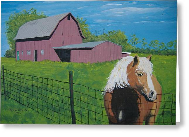 Greeting Card featuring the painting Wisconsin Barn by Norm Starks