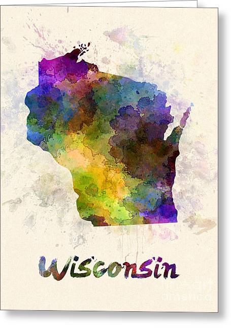 Wisconsin Us State In Watercolor Greeting Card by Pablo Romero