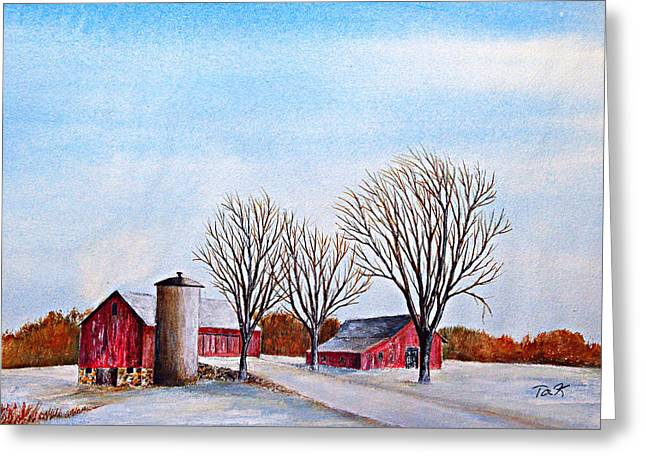 Greeting Card featuring the painting Wisconsin Winter by Thomas Kuchenbecker