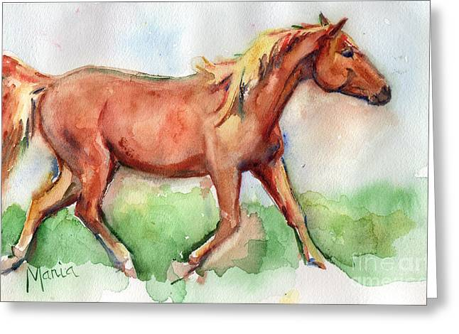 Horse Painted In Watercolor Wisdom Greeting Card by Maria's Watercolor