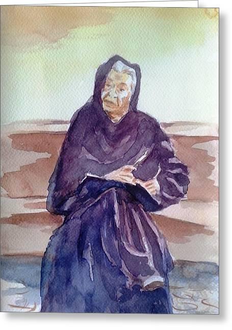 Wisdom Of Years Greeting Card by Uma Krishnamoorthy