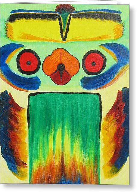 Wise Bird Totem Greeting Card by Phoenix The Moody Artist