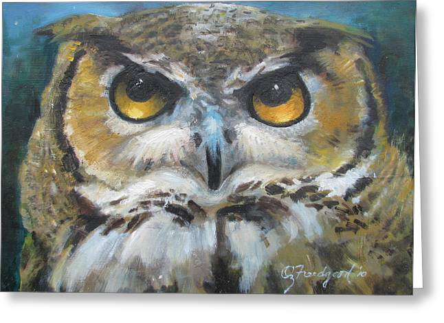 Greeting Card featuring the painting Wise Old Owl Eyes  by Oz Freedgood
