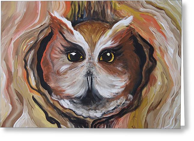 Wise Ole Owl Greeting Card by Leslie Manley