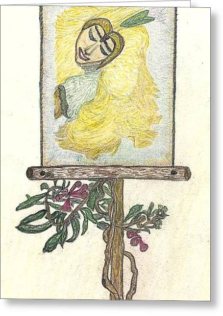 Greeting Card featuring the drawing Wish And Tell by Kim Pate