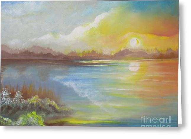 Greeting Card featuring the painting Wish You Were Here. by Nereida Rodriguez