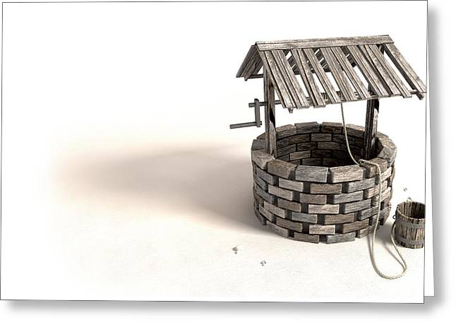 Wishing Well With Wooden Bucket And Rope Greeting Card