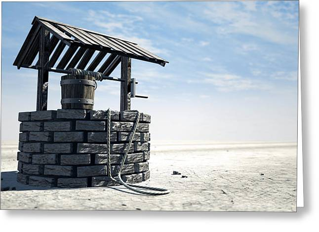 Wishing Well With Wooden Bucket On A Barren Landscape Greeting Card by Allan Swart