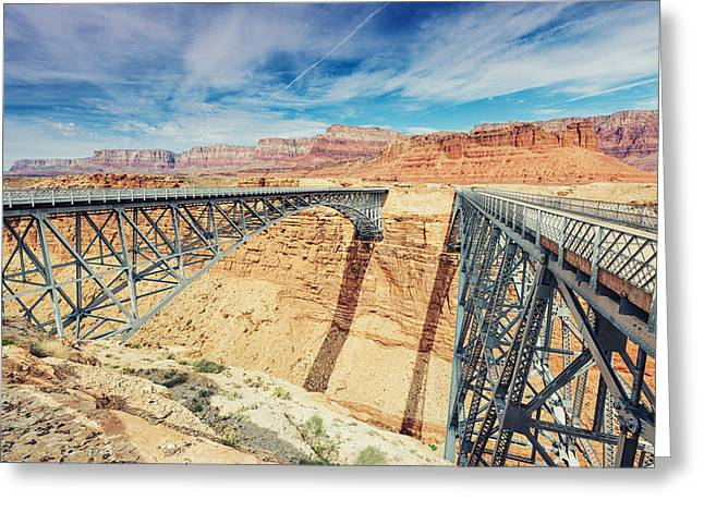 Wispy Clouds Over Navajo Bridge North Rim Grand Canyon Colorado River Greeting Card by Silvio Ligutti