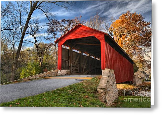 Wispy Clouds Over The Poole Forge Covered Bridge Greeting Card by Adam Jewell