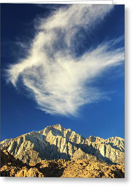 Wispy White Clouds And Dark Blue Sky Greeting Card by James White