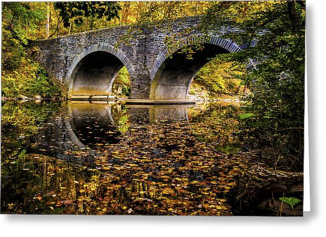 Greeting Card featuring the photograph Wissahickon Park Bridge by Louis Dallara