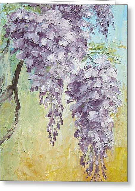 Wisteria And Gold Greeting Card by Mary Rogers
