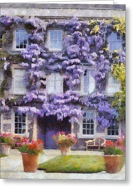 Wisteria Covered House Greeting Card by Desmond De Jager
