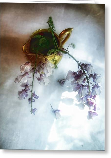 Wisteria In A Gold Pitcher Still Life Greeting Card