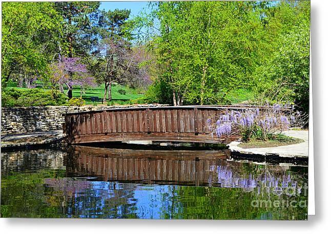 Wisteria In Bloom At Loose Park Bridge Greeting Card