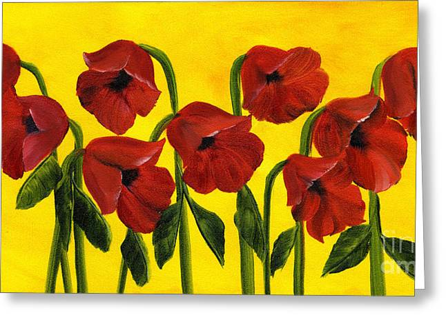 Wistful Poppies Greeting Card by Maria Williams