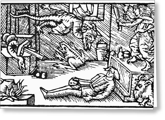 Witch And Demons, 1555 Greeting Card by Granger