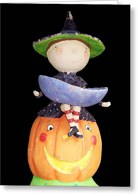 Witch And Pumpkin  Greeting Card
