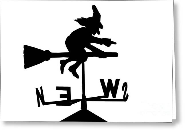 Witch On A Broomstick Greeting Card by Simon Bratt Photography LRPS
