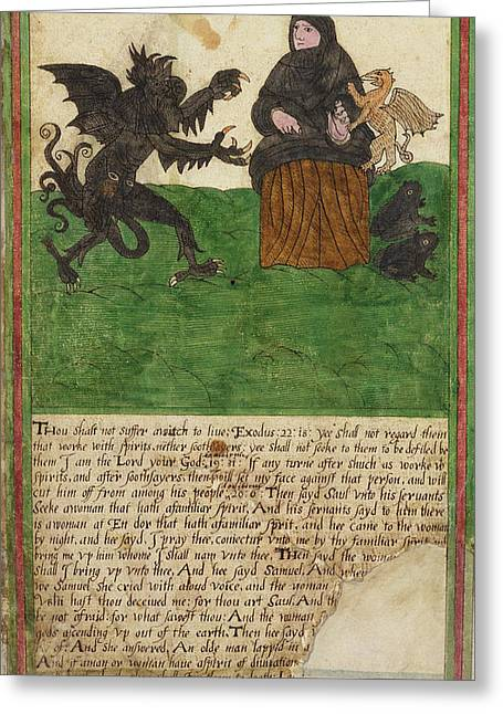 Witch, Trevelyon Miscellany, 1608 Greeting Card by Folger Shakespeare Library