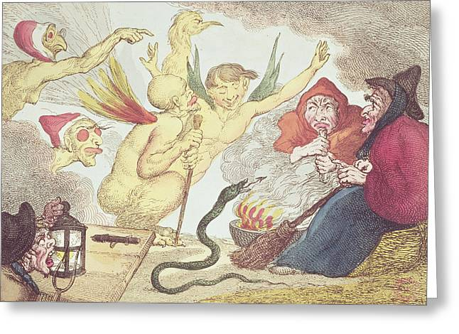 Witches In A Hayloft Engraving Greeting Card by Thomas Rowlandson