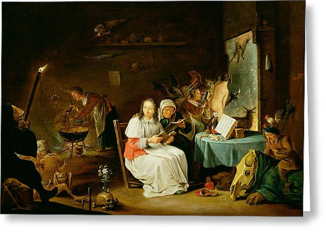 Witches Preparing For The Sabbat Greeting Card by David the Younger Teniers