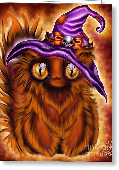 Witchkitty Greeting Card by Coriander  Shea