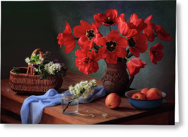 With A Bouquet Of Red Tulips Greeting Card
