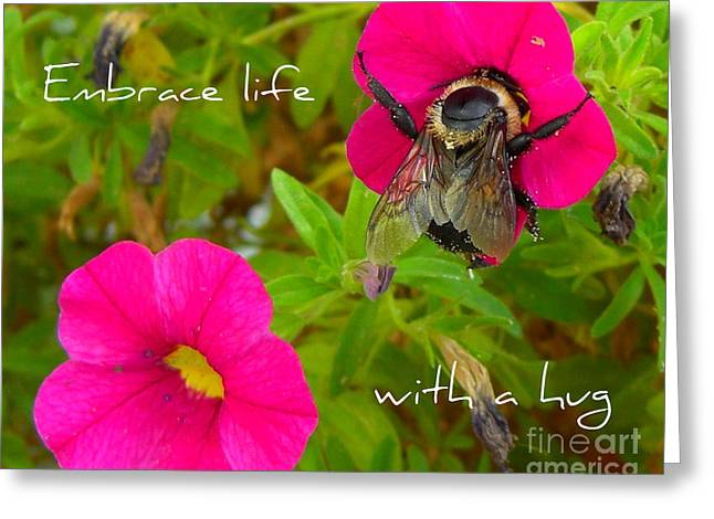 Greeting Card featuring the photograph With A Hug by Heidi Manly