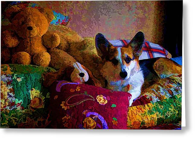 With His Friends On The Bed Greeting Card by Mick Anderson