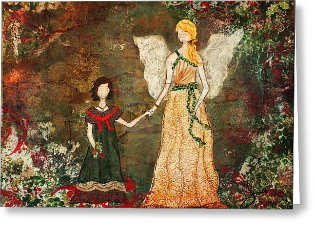 With The Angels Christmas Mixed Media Folk Art Painting Greeting Card by Janelle Nichol