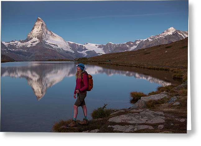 With The Matterhorn In The Background Greeting Card