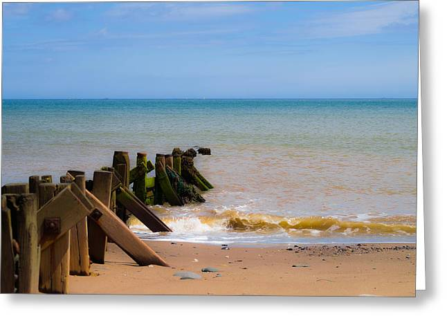 Withernsea Groynes Greeting Card by Scott Lyons
