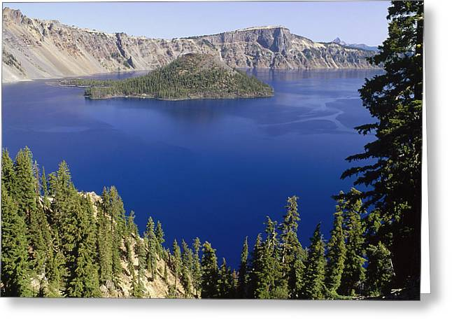 Wizard Island  In Crater Lake Greeting Card