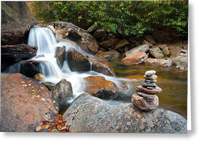 Wnc Flowing Zen Waterfalls Landscape - Harmony Waterfall Greeting Card by Dave Allen