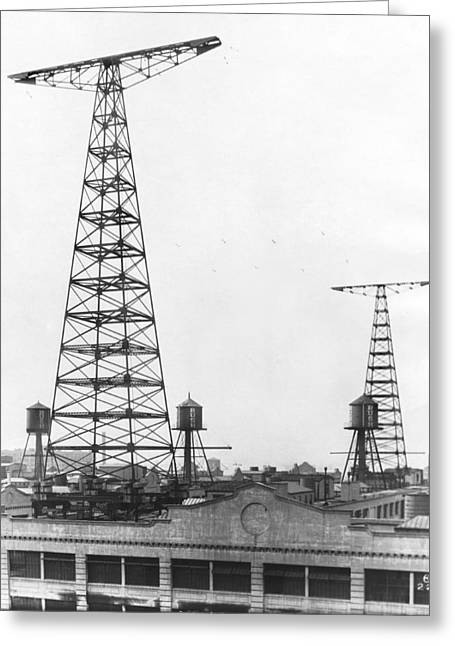 Wny Radio Station Towers Greeting Card by Underwood Archives