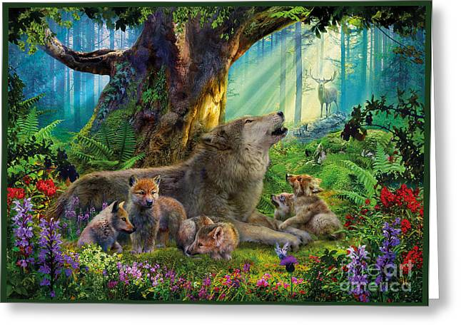 Wolf And Cubs In The Woods Greeting Card