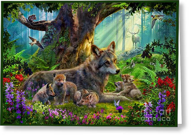 Wolf And Cubs Greeting Card