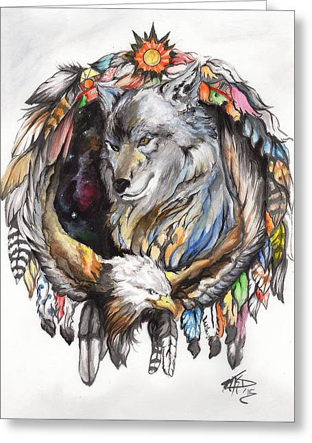 Wolf And Eagle Greeting Card by Miguel Karlo Dominado