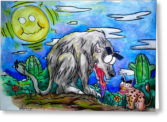 Wolf And Friend Greeting Card