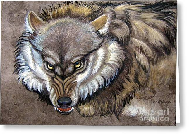 Wolf Back Off Greeting Card by Anne Shoemaker-Magdaleno