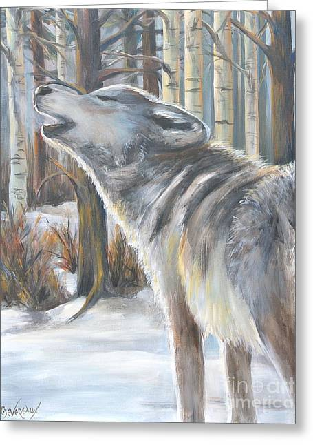 Wolf Greeting Card by Cher Devereaux