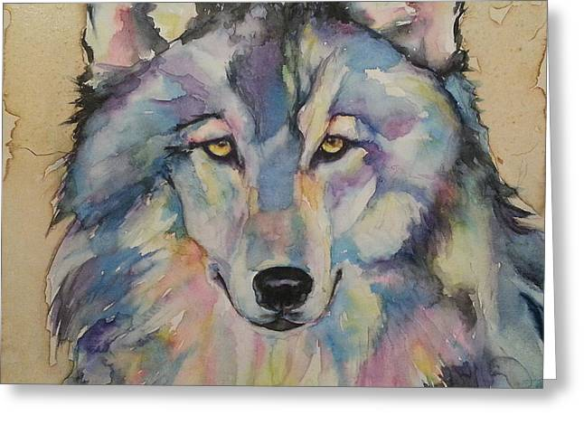 Greeting Card featuring the painting Wolf by Christy  Freeman