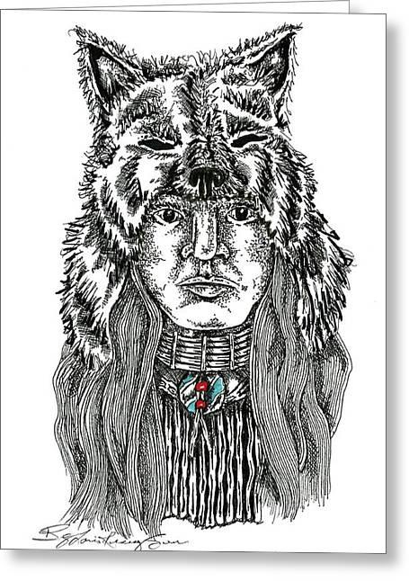 Wolf Clan Warrior Greeting Card by Louis McCollum