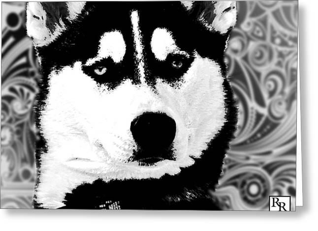 Wolf Dog Black  White B W Greeting Card