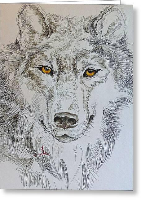 Wolf Eyes  Greeting Card by Gracia  Molloy